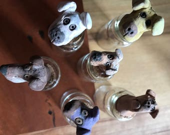 Tiny Dog Head Bottle Toppers