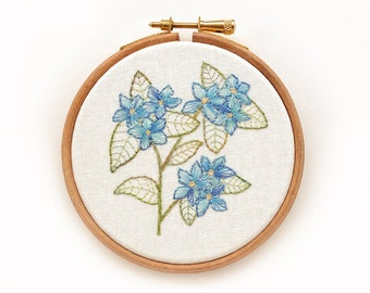 Hand Embroidery Hoop Art, Forget Me Not, Framed in an Embroidery Hoop
