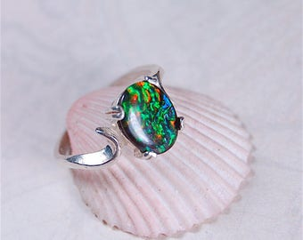 """Ammolite Ring.Rare pattern.""""French Brocade""""Very rare.One of a kind."""