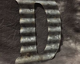 D - Recycled Antique Roofing Tin Letter by JunkFX