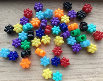 50 Mixed Colour Opaque Flower Shaped Pony Beads 12mm