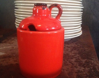 Metlox Jam Pot Honey Jar Red Poppy Trail 1970s Kistch For Your Retro Kitchen USA Moonshine Jug