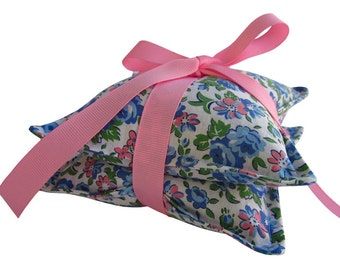 Lavender Sachet Pair, Vintage Pink + Blue Floral Fabric Tied with Pink Grosgrain Ribbon
