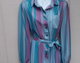 vintage 70s Blue Striped Belted SECRETARY DRESS // Ladies sz Lge
