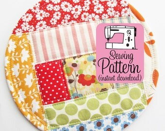 Patchwork Coasters PDF Sewing Pattern | Put your pretty scraps to good use with this sewing pattern for freehand patchwork.