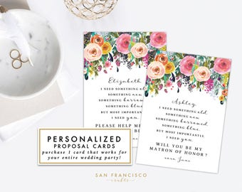 Will you be my Bridesmaid, Maid of Honor, Proposal Card, Kit, Something borrowed | Custom, Personalized | Ashley | Editable PDF Template