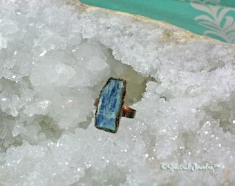 Blue Kyanite Statement Ring | Chunky Electroformed Kyanite Ring | Size 8 1/2 Kyanite Ring | Raw Crystal | Boho Jewelry