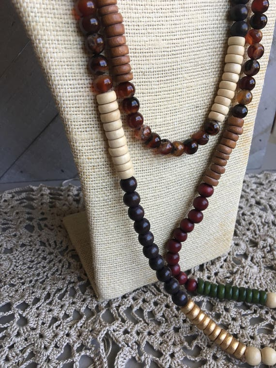 """Long Layering Beaded Rope Necklace - Wood & Agate Beads - 54"""" long - Earthy Boho Necklace - Hippie Bohemian Jewelry - Gif for Her"""