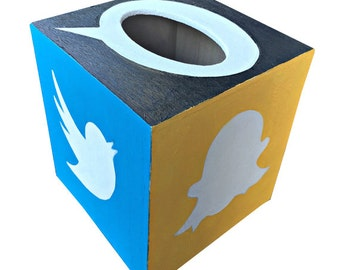 Social Media Tissue Box Hand Painted Gift for Girls Teens