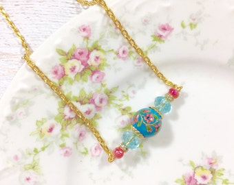 Beaded Bar Layering Necklace, Vintage Limoges Flower Focal, Rhinestones, Sparkling Aqua, Glittery Pink, Gold Toned Chain, KreatedbyKelly