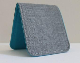 Mens Billfold Wallet / Ultra Thin Minimalist Fabric Wallet / Light Grey Wool / Non-Leather Wallet