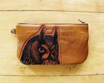 Owl Pouch with Zip Pocket on the Back