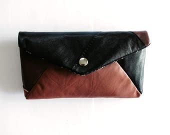 Envelope Clutch Patchwork Leather Recycled