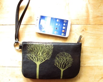 Black Leather Wristlet Recycled Trees