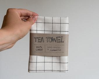Linen Tea Towel - Grid pattern in black ecofriendly ink, hand screen printed in Melbourne