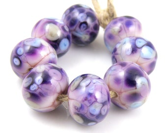 Flirtation - Handmade Artisan Lampwork Glass Beads 8mmx12mm - Purple, Violet, Seashell Pink - SRA (Set of 8 Beads)