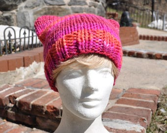 Pink Pussyhat - Pink and Orange Striped Hat - Pussy hat - Protest hat - Kitty Hat
