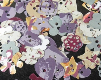 90+ Paper button die cuts in shades of cream, purple duck egg blue and maroon set 1