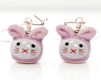 Bunny Earrings Lilac and Lavender Rabbit Sisters