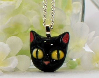 Cat Pendant Black Kitty Necklace  - Felix the Black Cat Necklace - Kitty Cat - Black Cat Jewelry -Cat Lover Jewelry -Cute Cat -Cat Lady Gift