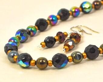 Black Crystal Necklace Set Erradescent Envy - Black Jewelry - Black Necklace