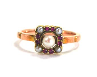 Antique Art Deco Pearl and Red Ruby Ring 9k Rose and Yellow Gold Two Toned Seed Size 5.25 Circa 1920