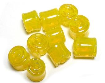 Handmade Lampwork Glass Beads, Translucent Yellow Red Wraps