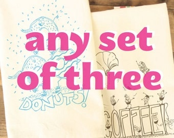 Tea towel set of 3 three - make your own set of funny foods