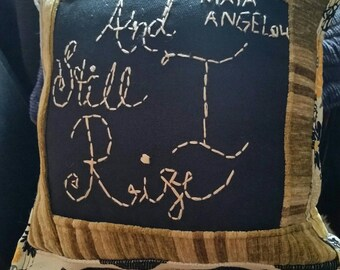 Inspirational hand embroidered pillow I RiSe