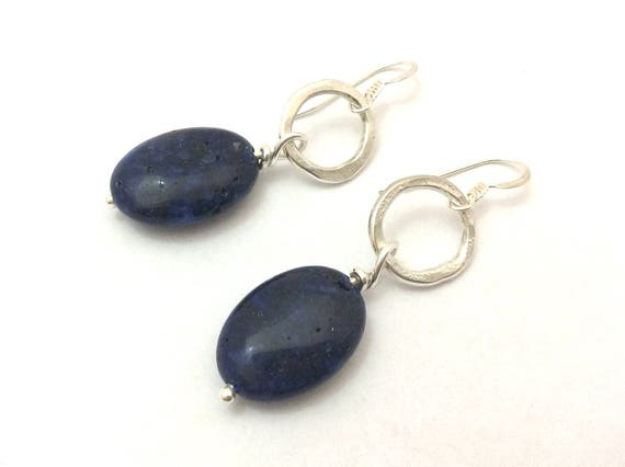 Sterling silver circle and navy blue lapis lazuli drop earrings, summery nautical beach style
