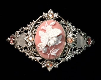 Cameo Barrette Peach and  White Butterfly  with Beach Glass and Crystal Accents