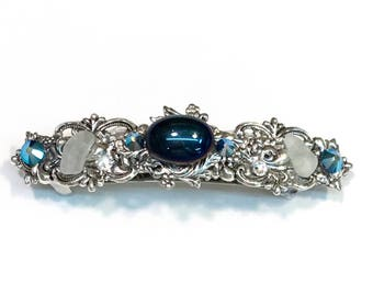 Sparkling Hair Barrette with Iridescent Dark Blue Cabochon  Crystals and Beach Glass