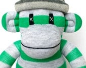 Green and Grey Striped Sock Monkey perfect for Harry Potter Slytherin fans