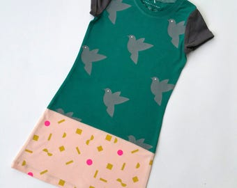 Size 4T upcycled toddlers  dress, girls clothing, children's clothing, girls dress, birds , girls clothes, unique, handprinted, teal