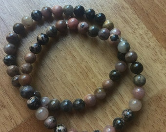 Rhodonite Mini Bead Stretch Bracelet