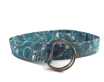 Women's Aqua Paisley Print Fabric Belt