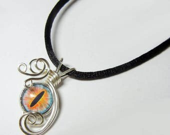 Wire Wrap Handmade Blue Fire Glass Evil Dragon Eye Pendant with Necklace