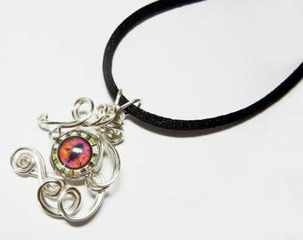Wire Wrap Steampunk Clock Glass Evil Dragon Eye Pendant with Necklace