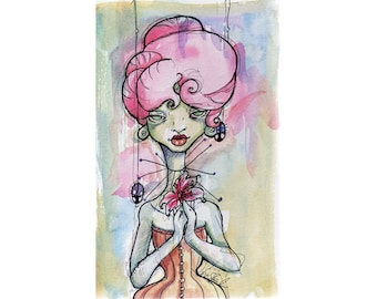 Original Watercolor Illustration - lowbrow orange corset hot pink hair Art by Ela Steel - small yellow blue pink purple green