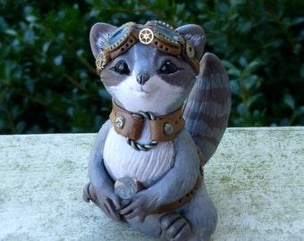Raccoon Steampunk Myxie Pal Sculpture