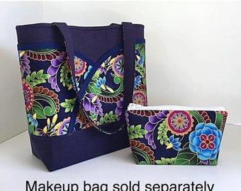 SALE Navy blue handbag, tote bag, womens tote bag, handbag with pockets, handbags and purses, gift for her,