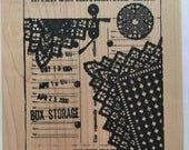 inter departmental  mail lace button art rubber stamp
