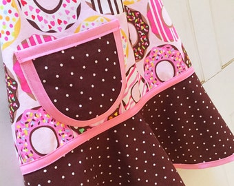 Child Apron, Little Girls Apron, Kids Apron, Toddler Apron, Teen Apron, Pink & Chocolate Brown, Frosted Sprinkle Donuts - DONUT LOVE