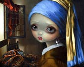 Girl with a Pearl Earring art print by Jasmine Becket-Griffith 8x8 dutch vermeer portrait holland baroque