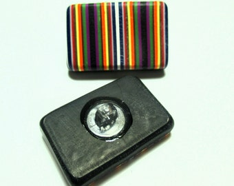Handmade Striped Buttons - Polymer Clay