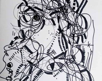 Art Original Black Ink Drawing 9x12 inches, In the middle of nowhere, Abstract Modern Wall Decor - R. Marinho
