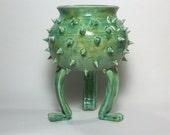 Ceramic Planter - Succulent Pot -Grouchy Pot with Spikes - Planter Pot with Sculpted Feet and Spikes