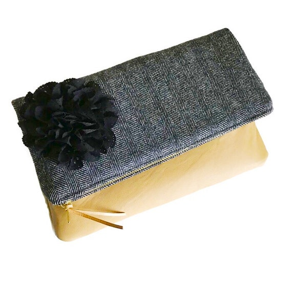 Herringbone Black Wool Leather Clutch Purse, Evening Bag, Foldover Clutch Bag, Womens Clutch Bag, Bridesmaid Clutch, Gift for Her