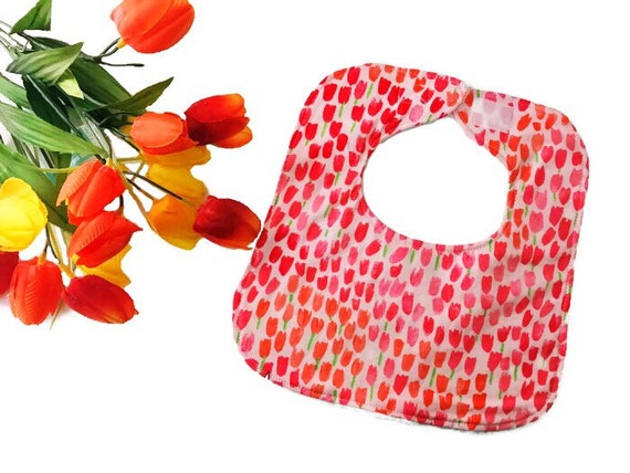 Pink Tulips Baby Girl Bib, Baby Shower Gift, Drool Bib, Infant Bib