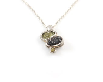 Supercluster Meteorite, Rough Diamond and Rough Sapphire Pendant in Sterling Silver #19 - Ready to Ship